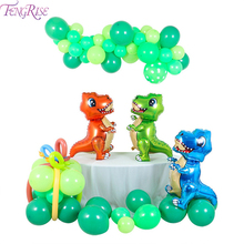 FENGRISE Birthday Party Decorations Kids Dinosaur Baloons Green Baby Shower Girl Balloon Ballon Supplies