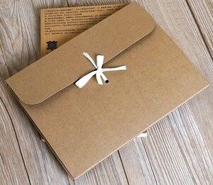 Image 5 - 30 pçs/lote grande kraft foto envelope embalagem caso de papel branco presente envelope para lenço de seda com fita caixa de envelope cartão postal