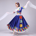 New Tibetan dance costumes female Tibetan twirls garment minority dance costumes female auspicious rumours multi colour dress