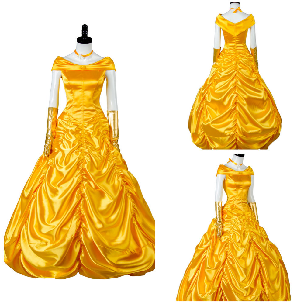 Princess Belle Costume Beauty and The Beast Cosplay Costume Beauty Fancy Gorgeous Dress Adult for Women Dress Halloween