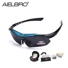 AIELBRO 5 Lens Polarized Men MTB Cycling Sunglasses Eyewear Running Sport Bicycle Glasses UV400 Fishing Goggles