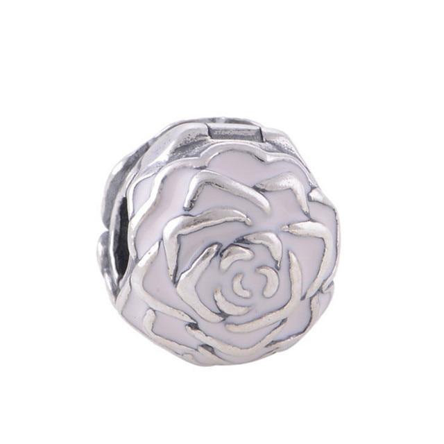 Enamel Rose Silver Clip Beads Sterling-Silver Beads Fits Pandora Charm Bracelets & Bangles DIY Jewelry Wholesale Beads