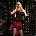 Negro Satin Lace Lamer Con Rojo Recortado Deshuesado Victorian Burlesque Bustier Corsé Gótico Atractivo Top Corselete Feminino Espartilhos