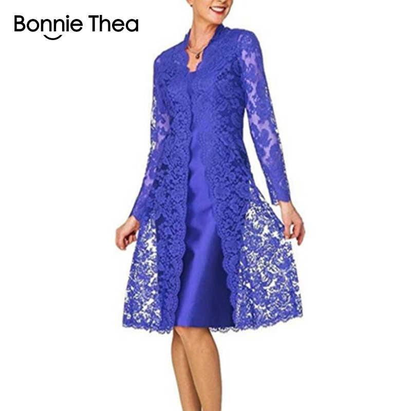 Bonnie Thea женское кружевное платье с длинными рукавами из двух частей элегантное черное платье для вечеринки Vestido женское весеннее платье 2019