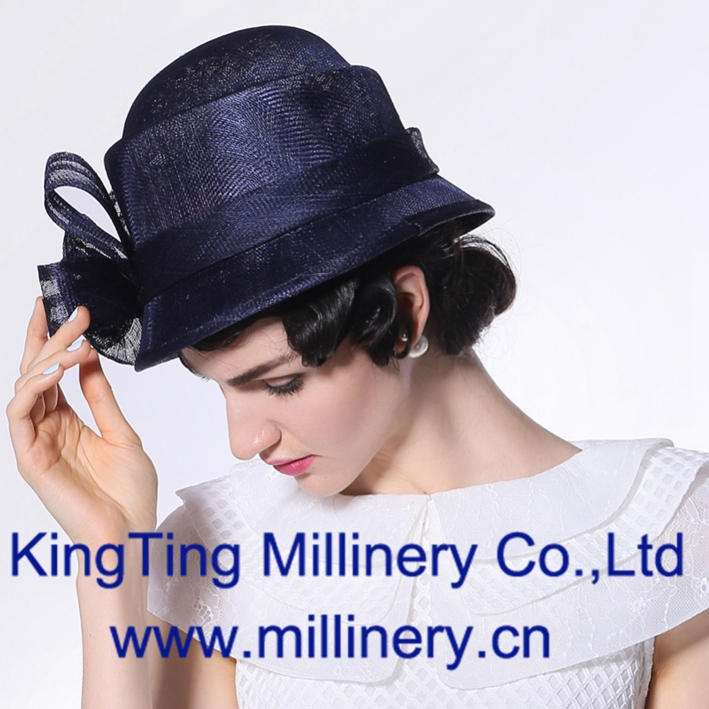f10dc1f48eff7 June syoung Summer New Fashion Women Sinamay Hats Navy Blue Color Pure  Manual Noble Luxury Various Occasions Lady Fedoras-in Fedoras from Apparel  ...
