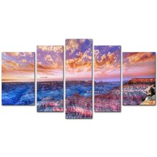 5 Pcs Colorful Clouds Beach Seaview Sunset Picture Canvas Painting for Home Decor Living Room Wall Art/XJ-12Y-61
