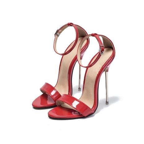 New Style Women Soild White Red Ankle Buckle Strap Hollow Out Sandals 13cm High Thin Metal Heel Dress Shoes Big SizeNew Style Women Soild White Red Ankle Buckle Strap Hollow Out Sandals 13cm High Thin Metal Heel Dress Shoes Big Size
