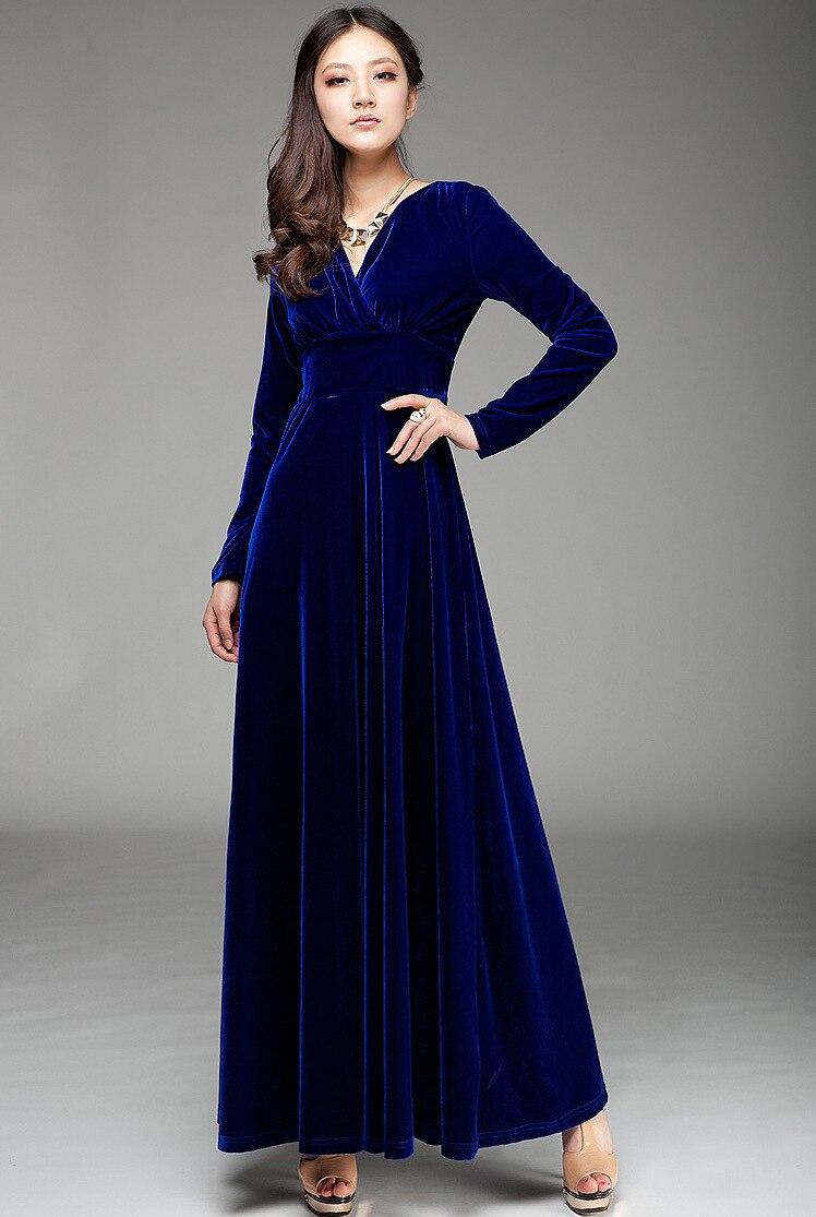 Brand Designer Women Dresses Long Sleeve V neck Gold Velvet Long ...