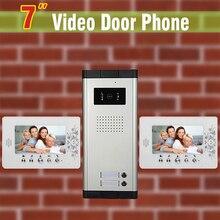 """7 """"LCD 2 Apartamentos Video de La Puerta Sistema de Intercomunicación Del Teléfono Cámara de Infrarrojos Sistema de Intercomunicación Para Los Apartamentos Puerta de campana de Intercomunicación 1V2"""