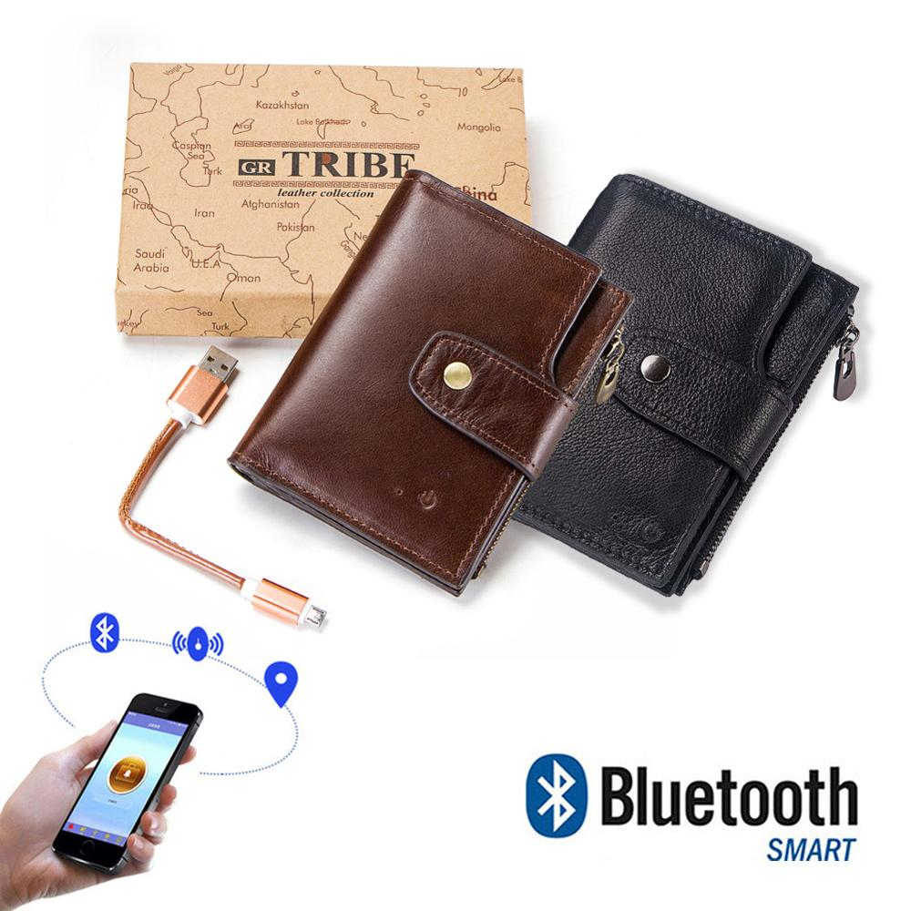 Leather Smart Wallet Card Holder Men Bluetooth Two Way Alarm Anti Theft iOS 7