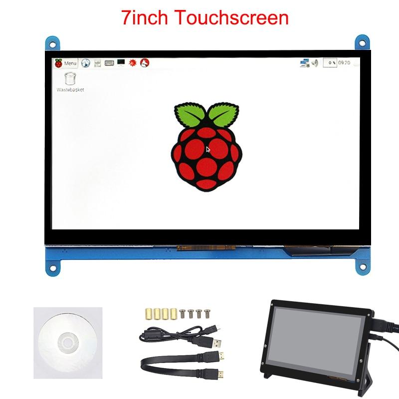 7 pouce Framboise Pi 3 Modèle B + LCD Affichage à L'écran Tactile LCD 1024*600 800*480 HDMI TFT Moniteur + Titulaire Cas pour Raspberry Pi 3
