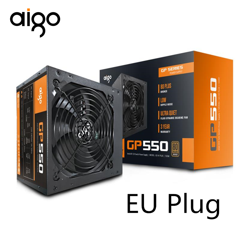 Aigo 550W ordinateur alimentation ATX mini psu itx 80 plus Bronze EU prise Active Flex ITX PC alimentation 12V