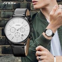 SINOBI Mens Army Watches Analog Date Clock Quartz Wristwatch Luxury Brand Men Military Sports Chronograph Leather Watch Relogio