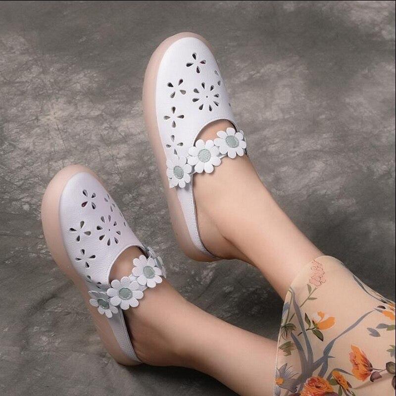 RUSHIMAN 2019 été pantoufles en cuir véritable sandales découpées à la main fleur plat chaussures confortables pantoufles sabots chaussures femme
