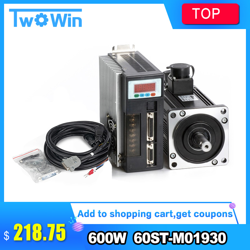 60ST M01930 600W AC servo motor cnc 0.6KW 3.5A 1.91N.M 3000RPM WITH SERVO DRIVER + Servo Cable + Servo Connector-in AC Motor from Home Improvement    1