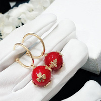 Queen Lotus 2019 Fashion Jewelry Luxury High Quality Brand Honeybee Animal Drop Earrings for Women Red Pearl Earring