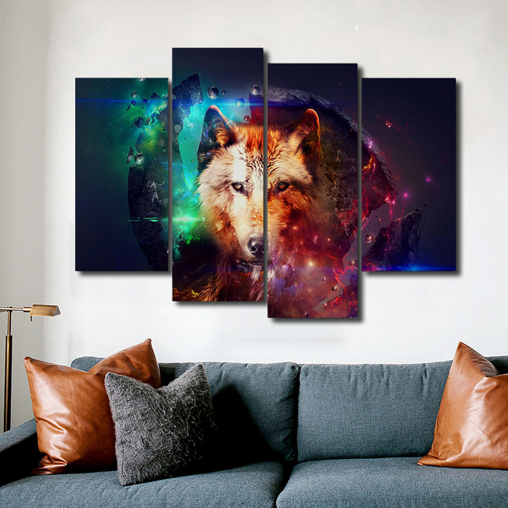 Colorful Fox Animals Canvas Painting Calligraphy Prints Home Decorative Wall Art Paintings Pictures For Living Room Bedroom