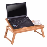 Goplus Portable Folding Laptop Table Bamboo Sofa Bed Office Laptop Stand Desk Computer Desk Adjustable Notebook
