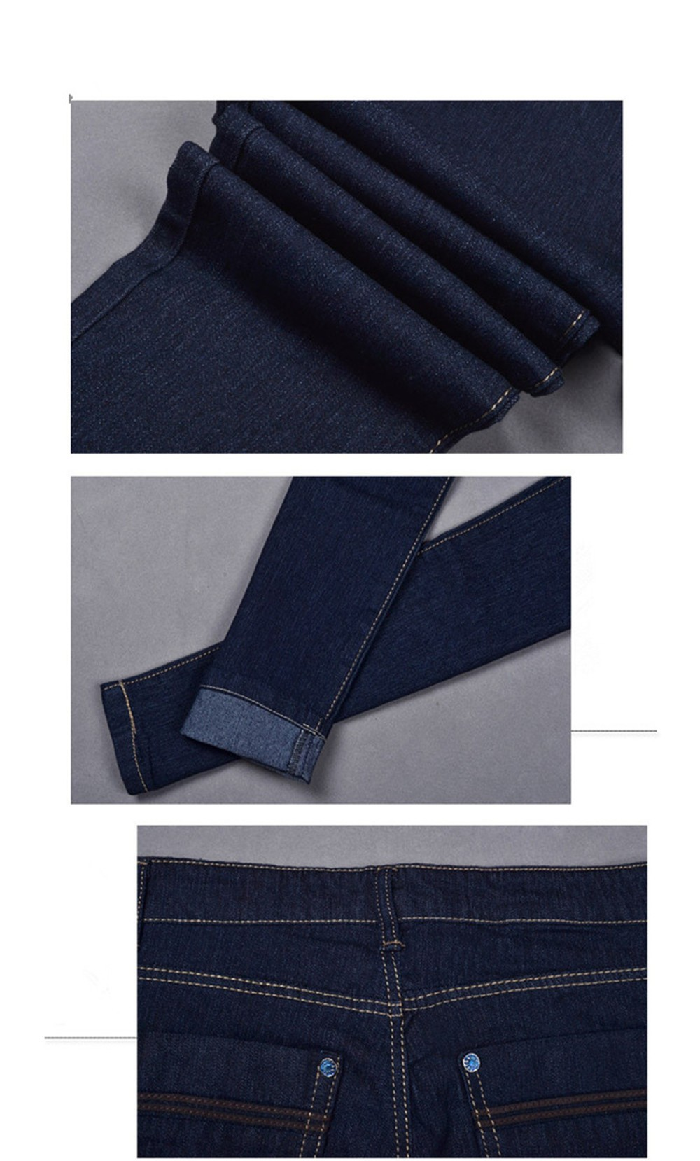 Mainland Plus Size 26-31 Women Trousers 2016 Summer Style Women Denim Washed Mid Waist woman Jeans Female Pencil skinny Jeans (9)