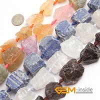 20 30x22 32mm Freeform Crude Quartz Beads Selectable Kind White Smoky Rose Citrine Mixed Courtz Strand