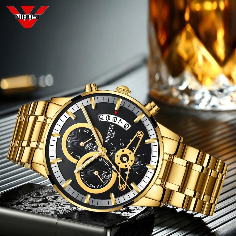 цена на NIBOSI Men Watches Luxury Top Brand Golden Watch Men Relogio Masculino Military Army Analog Quartz Luminous Calendar Wristwatch
