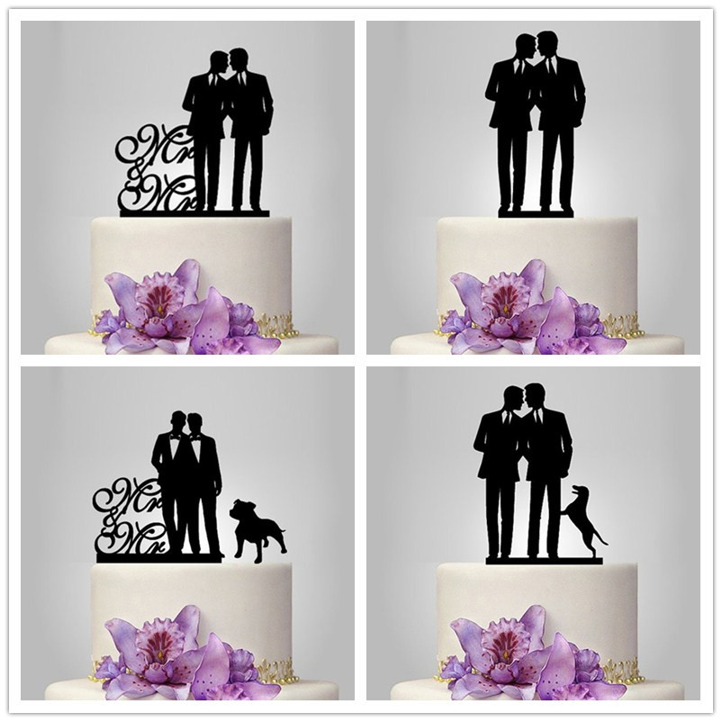 <font><b>Black</b></font> Arcylic Wedding <font><b>Cake</b></font> <font><b>Topper</b></font> mr&mr mrs&mrs wedding <font><b>cake</b></font> <font><b>toppers</b></font> with pet <font><b>cat</b></font> dog wedding <font><b>cake</b></font> decoration image
