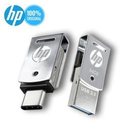 Asli HP USB Flash Drive Flashdisk 32 GB 64 GB 128 GB OTG Tipe C Memory Stick USB 3.1 DIY logo DJ Musik Pena Drive Dropshipping