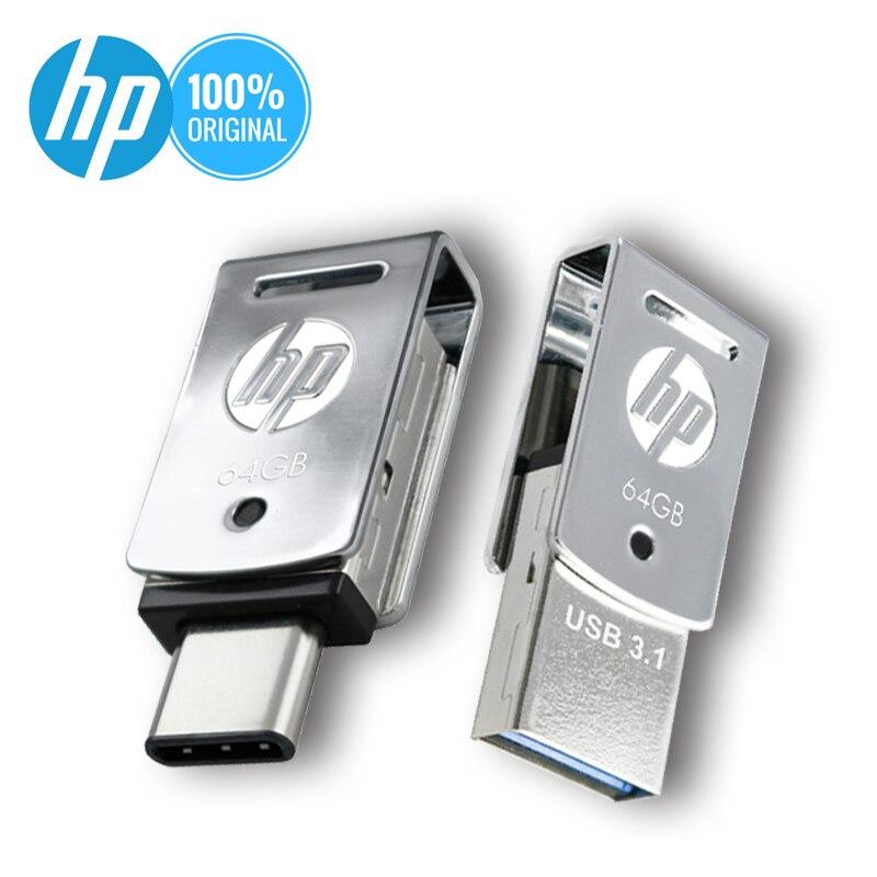 Original hp usb pen drive pendrive 32gb 64gb 128 gb otg tipo c vara de memória usb 3.1 logotipo diy dj música pen drive dropshipping