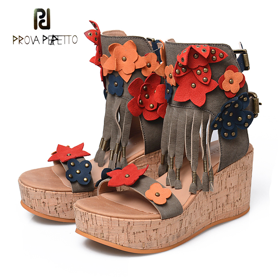 Prova Perfetto colorful flower wedge heel rome style women sandals rivet appliques back buckle flat platform gladiator sandals 2017 new children s cartoon plastic assembly simple wardrobe lockers storage cabinets resin composition baby for kit child