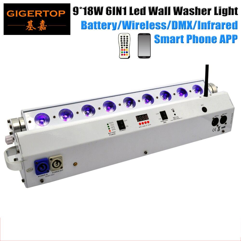 TIPTOP TP-G3044-6IN1 2016 APP SmartLine Baterie & Bezdrátové pro Svatbu Show Událost 9 * 18 W RGBWA UV 6IN1 23000MAH LED osvětlení