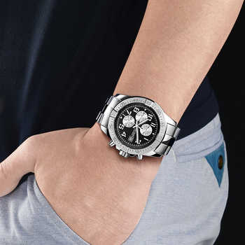 MEGIR Business Men Watch Luxury Brand Stainless Steel Wrist Watch Chronograph Army Military Quartz Watches Relogio Masculino