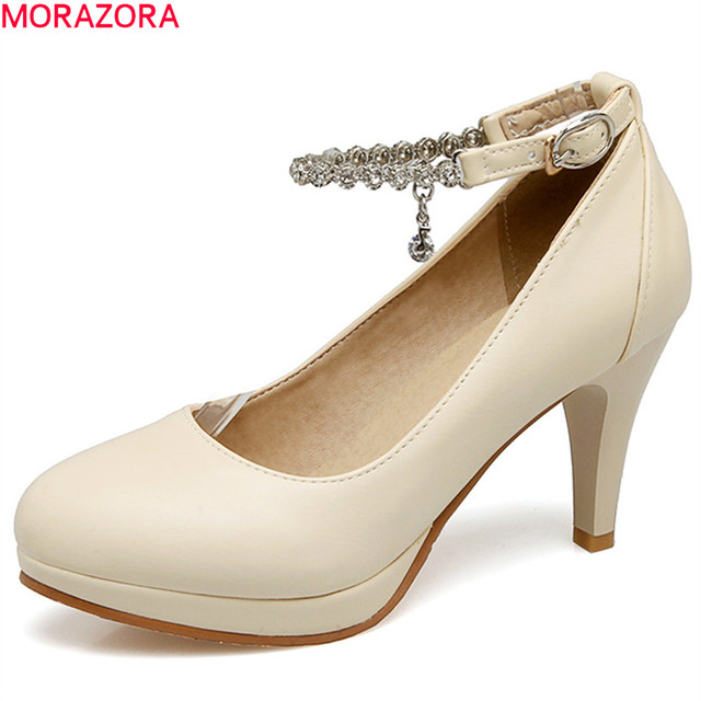 7a1f91009b0a MORAZORA black pink beige fashion spring autumn shoes woman round toe  buckle elegant women high heels shoes big size 33-43