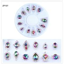 1 Wheel 3D Charm Alloy Nail Rhinestones Crystal Glass Diamond Gems For Nails Art Decoration 12pcs/wheel Stones