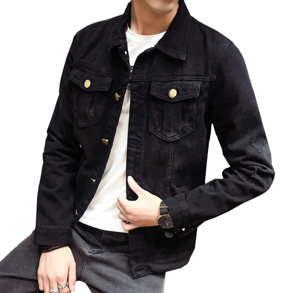 18224fe50a7 Men Black Washed Jean Denim Jackets Men's Spring autumn Cotton Coats 2018  man slim fit Lapel