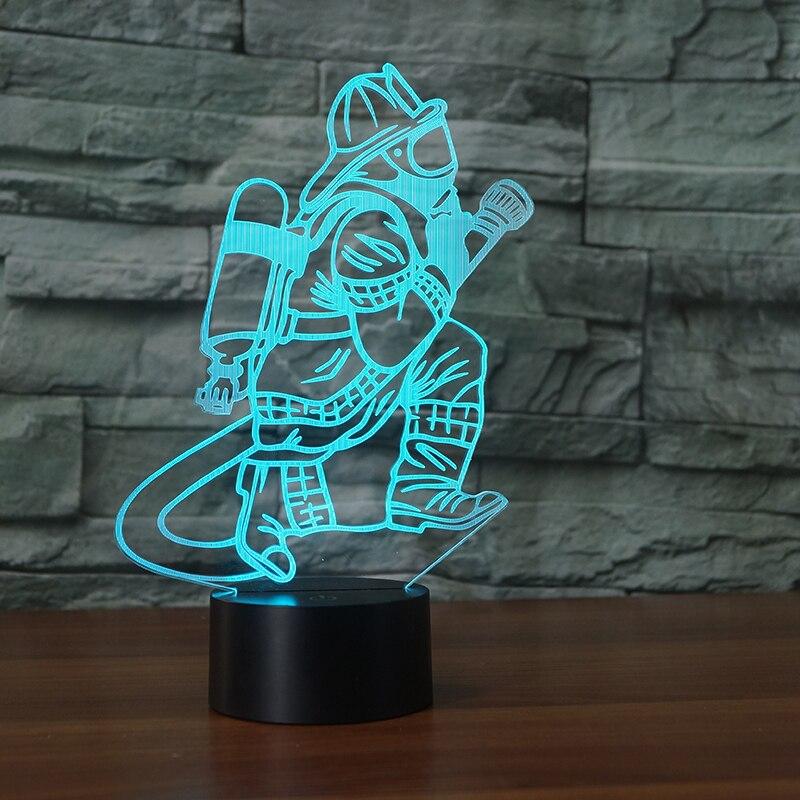 Neuheit 3D Feuerwehrmann Tischlampe LED USB Touch-Taste 7 Farbwechsel Feuer Kämpfer Nachtlicht Nacht Dekor Leuchte geschenke