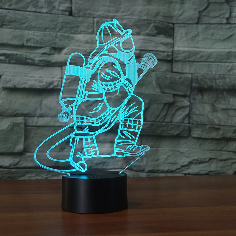 Novelty 3D Fireman Table Lamp LED USB Touch Button 7 Color Changing Fire Fighter Night Light Bedside Decor Light Fixture Gifts 3d visual shark 7 color changing touch led table night light