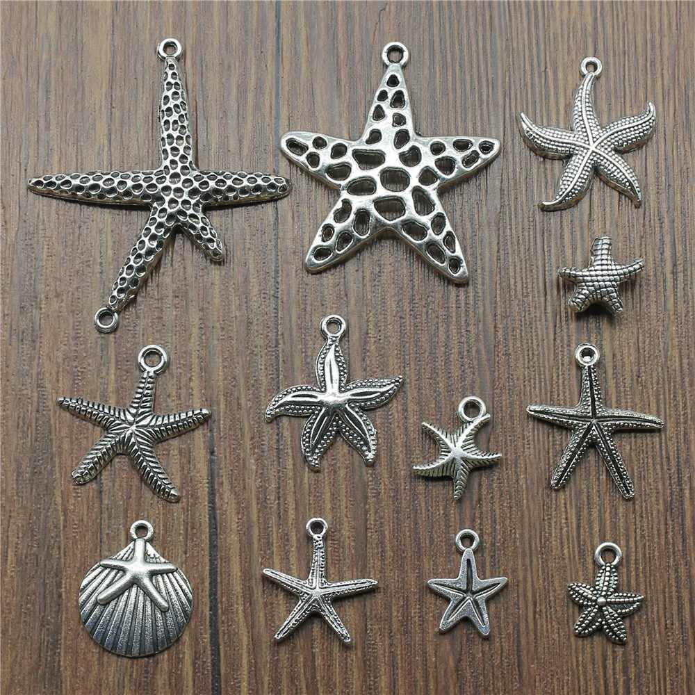 15pcs/lot Starfish Charms Antique Silver Color Starfish Pendant Charms Sea Animal Starfish Charms For Jewelry Making Diy Craft