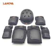 Lanova skateboard bike helmets knee pads elbow pads wrist care seven sets of men and women universal destroyer pro elbow xl purple skateboard pads