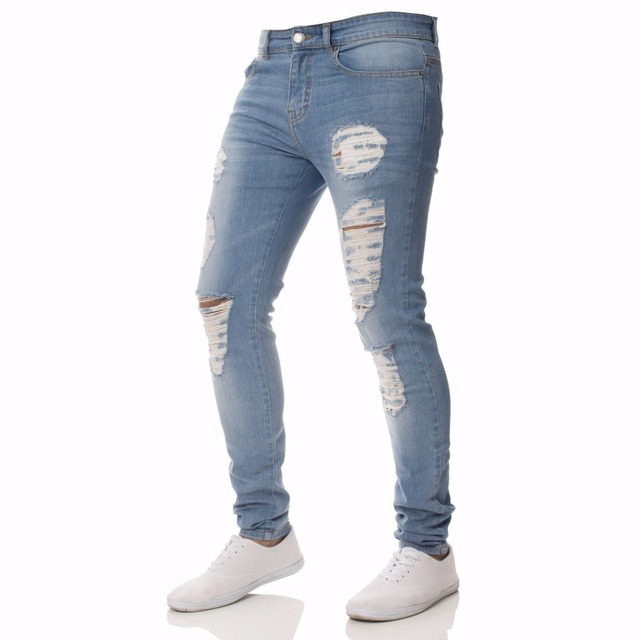 Mens Casual Skinny Jeans Pants Men Solid black ripped jeans men Ripped Beggar Jeans With Knee