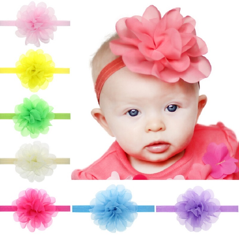Baby Girls Chiffon Flower Headband Infant Girls solid color elastic flower hairbands Photo Prop Hair Accessories 10pcs/Set HB306