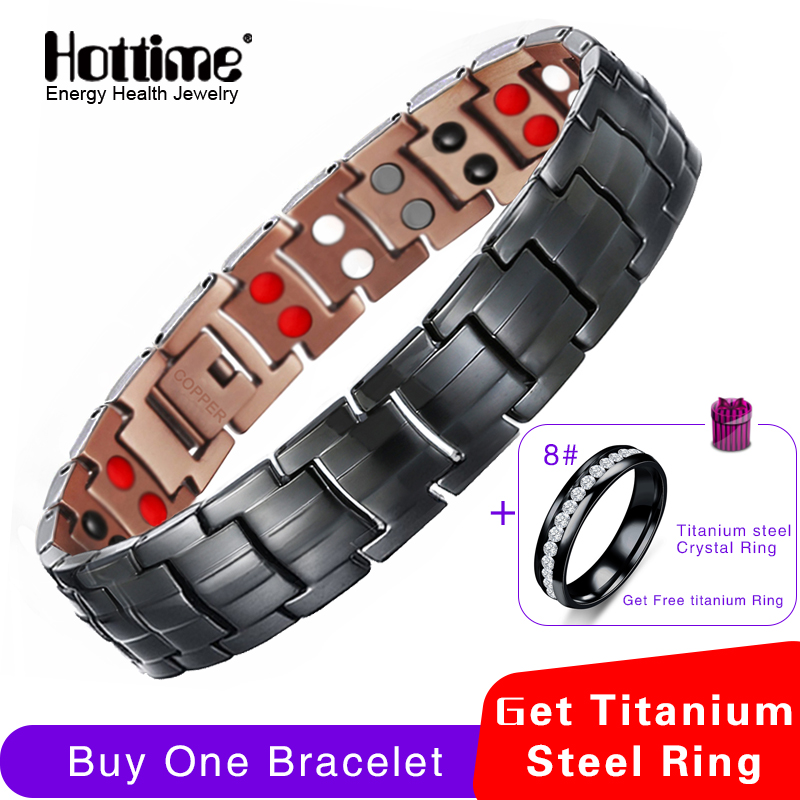 Hottime 99.95% Pure Copper Magnetic Bracelets & Bangle For Men Energy Healing Double Row 4 IN 1 Black Gun Plated Male Bracelets все цены