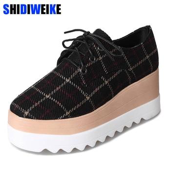 Women Platform Shoes Oxfords Brogue Cotton Fabric Flats Lace Up Shoes Creepers Vintage Gingham Light Soles Casual Shoes m418