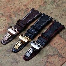 Correa de cuero de vaca de alta calidad 28mm marrón negro con línea roja costura hilo blanco plegable bucklespecial pulseras hombres