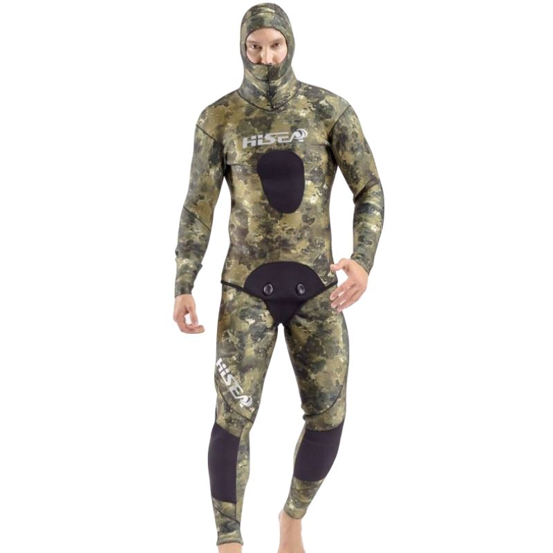 Plus Size Men Spearfishing Wetsuit 7MM Neoprene One Piece Swimsuit Diving Surf Swim Wet Suit Swimwear Long sleeve Camouflage