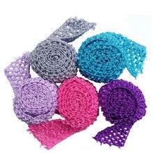 """2,7"""" вязанные крючком ленты-пачки, эластичная повязка на голову с эластичным поясом, повязка на голову, повязки для юбки-пачки, 1 метр в партии"""