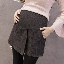 1045# осень зима модные шорты для беременных серые черные шерстяные шорты для беременных шорты с эластичным поясом для беременных