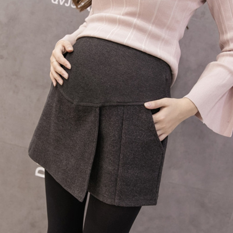 1045# 2019 Autumn Winter Fashion Maternity Shorts Grey Black Woolen Shorts For Pregnant Women Elastic Waist Pregnancy Shorts