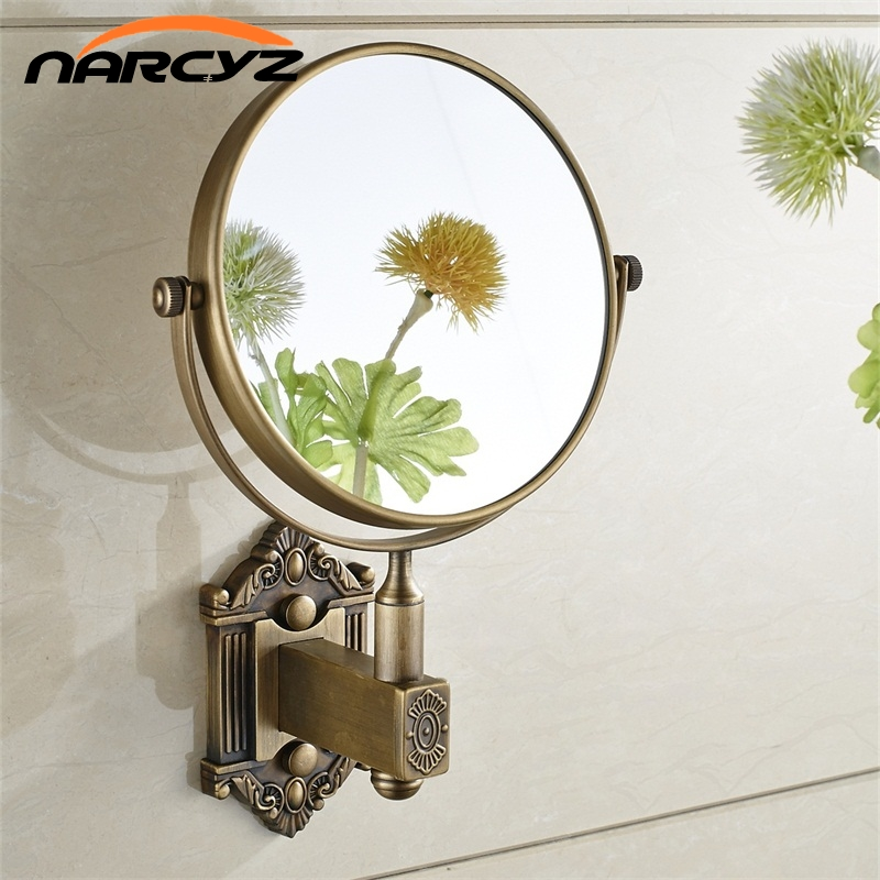 Bath Mirrors Antique Brass 3 X Magnifying Mirror 6 Inch Round Wall Mirror 2 Face Makeup Cosmetic Mirror Bathroom Mirror 9136K bath mirrors 3 x magnifying mirror of bathroom makeup mirror folding shave 8 dual side antique brass wall round mirrors 1506f