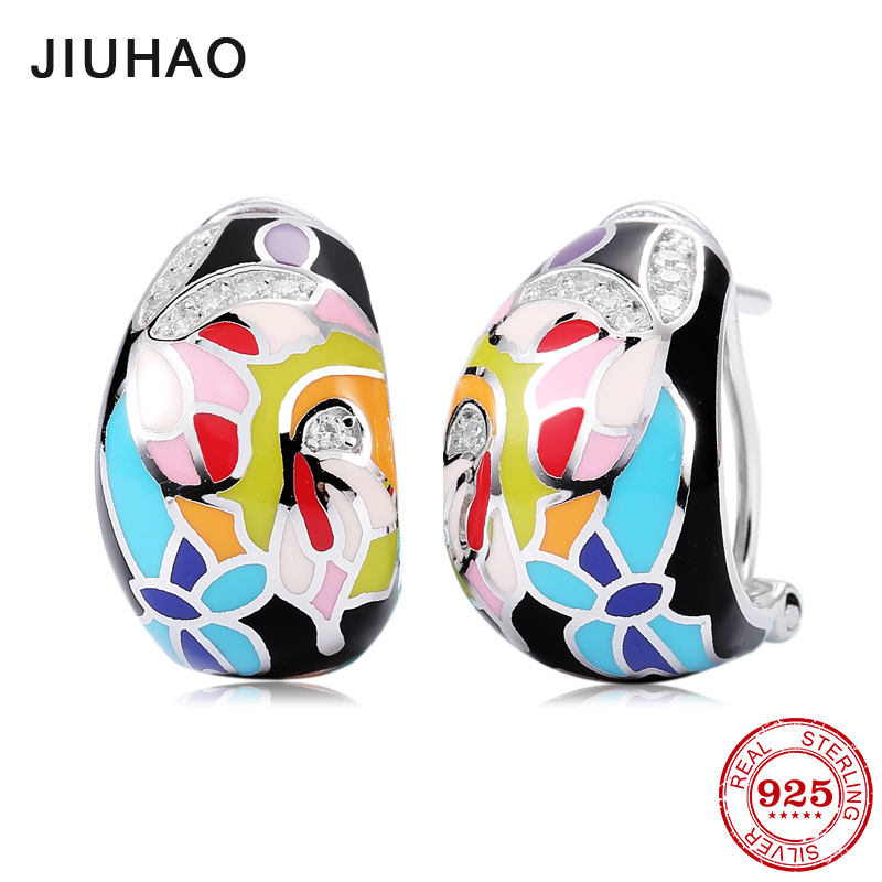 Charms Like Colorful Enamel painting For Women Authentic 925 Sterling Silver Dazzling CZ Fashion Stud Earrings Party Jewelry new design round shape 2018 hot authentic 925 sterling silver ethnic style fashion stud earrings luxury party jewelry enamel