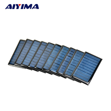 AIYIMA 10Pcs Polycrystalline Solar Panels 5V 60MA Solar Cells Plates Spot 68x37MM DIY Solar Battery Charger Painel Solars